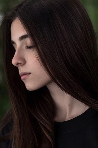 iPhone Wallpaper Black hair girl, black dress, bokeh