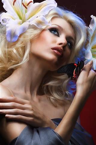 iPhone Wallpaper Blonde girl, makeup, butterfly, flowers