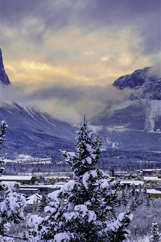 iPhone Wallpaper Canada, Banff National Park, winter, snow, mountains, valley