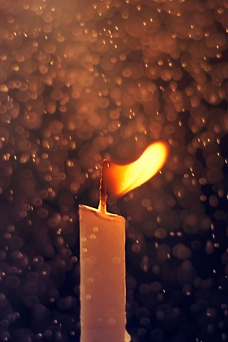 iPhone Wallpaper Candle, fire, raindrops, macro photography