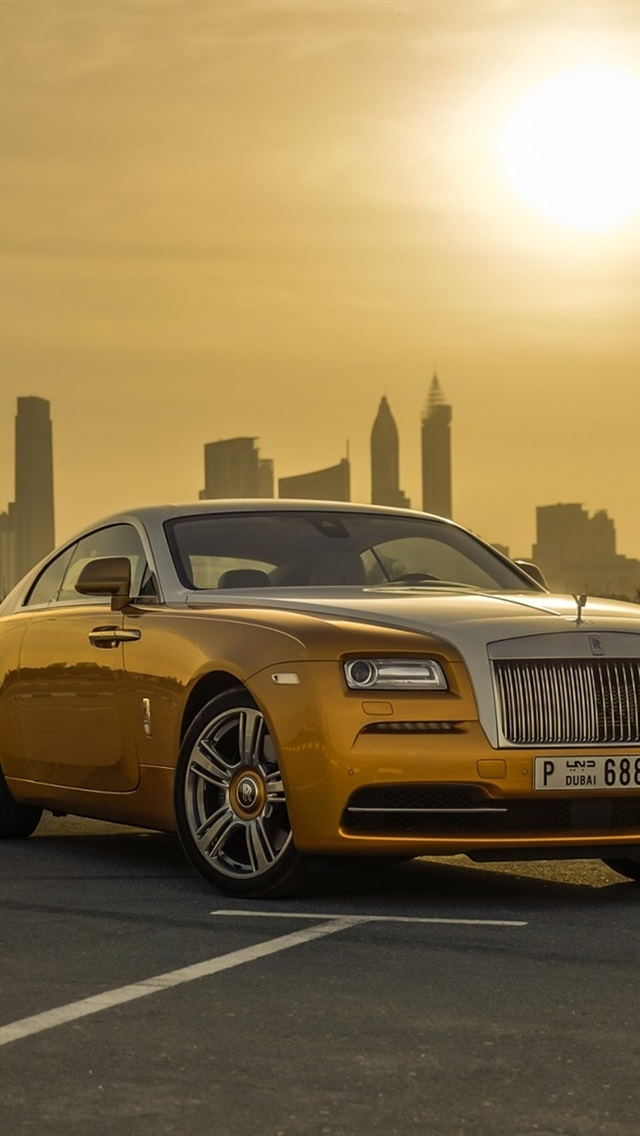 Wallpaper Gold Color Rolls Royce Luxury Car Dubai Sunset 1920x1200