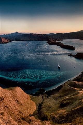 iPhone Wallpaper Hills, sea, sunset