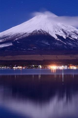 iPhone Wallpaper Japan, mount Fuji, lake, night, lights, clouds