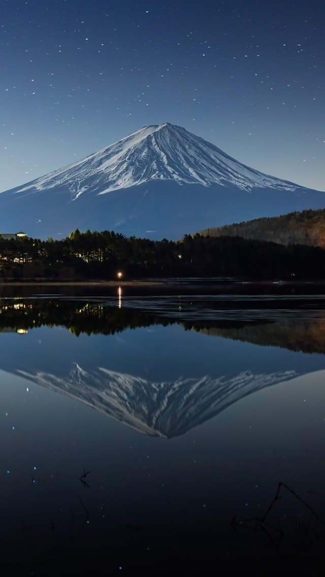 Japan Mount Fuji Night Winter Lake Lights 640x1136