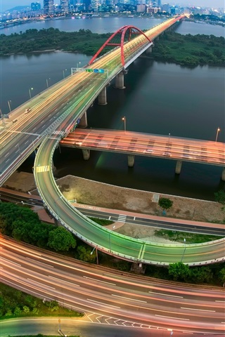 iPhone Wallpaper Korea, Seoul, road, viaduct, lights, night