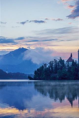 iPhone Wallpaper Lake Bled, Slovenia, Mariinsky Church, dawn