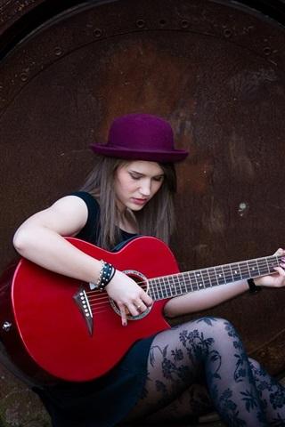 iPhone Wallpaper Long hair girl, hat, guitar, music
