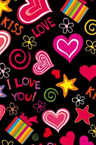 iPhone Wallpaper Love hearts, vector, romantic, Valentine day