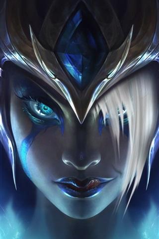 iPhone Papéis de Parede Morgana, League of Legends, capacete, menina rosto