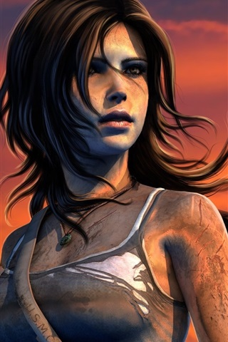 iPhone Papéis de Parede PC jogo, Lara Croft, Tomb Raider, pôr do sol