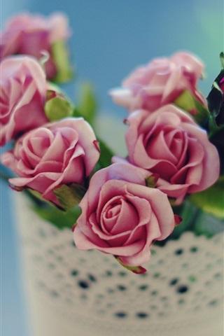 iPhone Wallpaper Pink roses flowers, petals, vase, bokeh