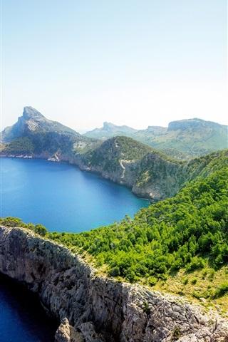 iPhone Wallpaper Sea, coast, rocks, trees, green, sunny day
