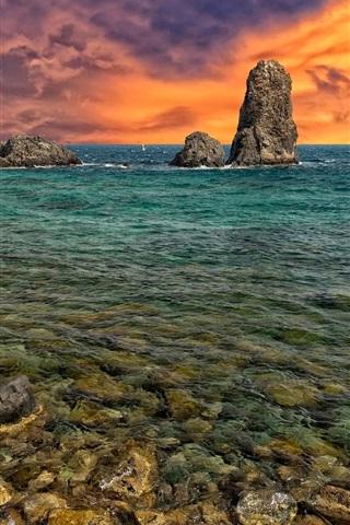 iPhone Wallpaper Sea, rocks, dusk sky