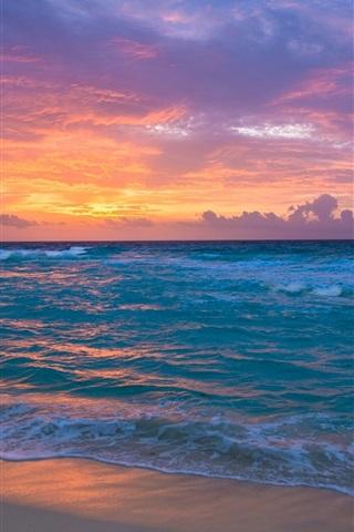 iPhone Wallpaper Sea, waves, beach, sunset, red sky