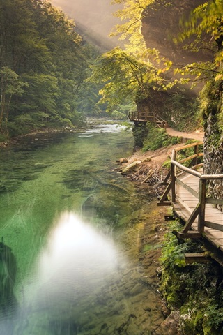 iPhone Wallpaper Slovenia, trails, rivers, mountains