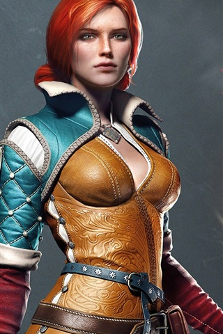 iPhone Wallpaper The Witcher 3: Wild Hunt, red hair girl
