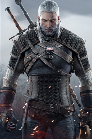 iPhone Wallpaper The Witcher 3: Wild Hunt, white hair man