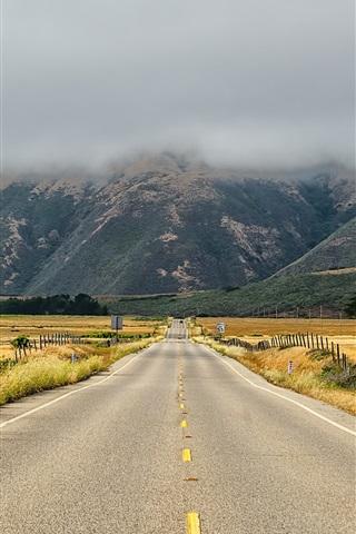 iPhone Wallpaper USA, California, road, grass, mountains