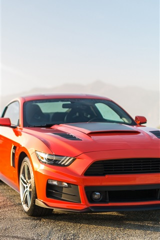 iPhone Wallpaper 2014 Ford Mustang orange and blue cars