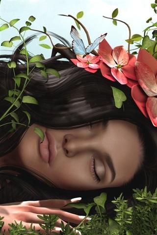 iPhone Wallpaper 3D fantasy girl, hair, flowers, grass, butterfly
