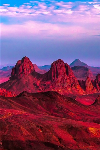 iPhone Wallpaper Algeria, Africa, red desert, mountains, rocks, clouds