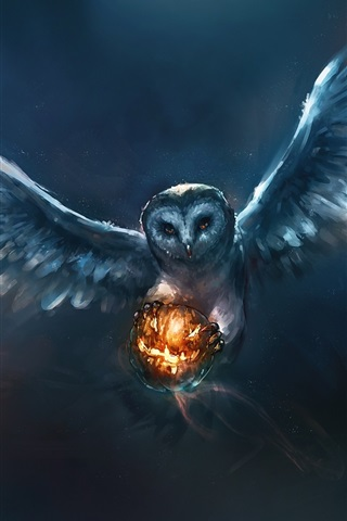 iPhone Wallpaper Animal painting, owl, Halloween, pumpkin
