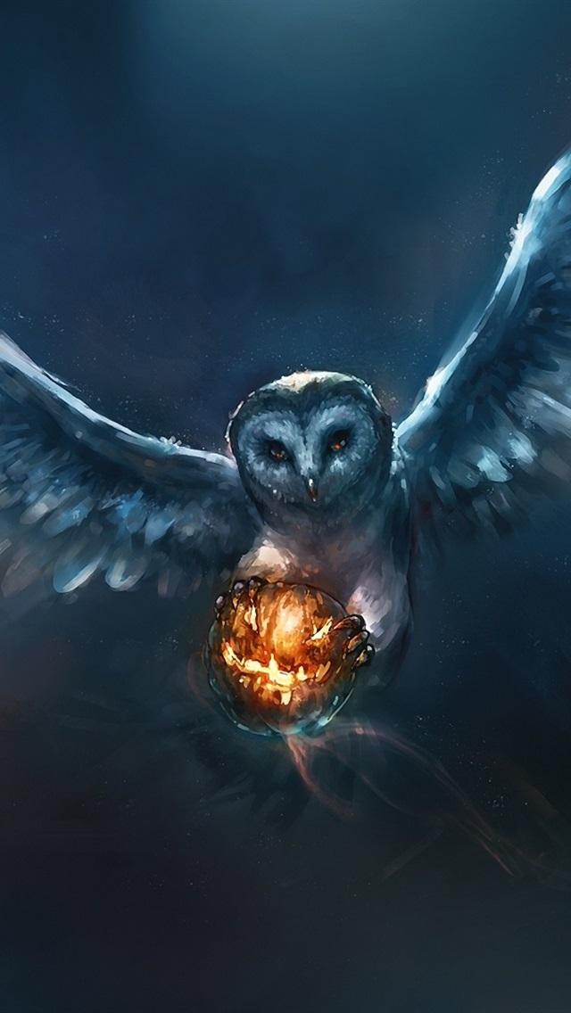 Halloween Pumpkin Wallpaper Iphone.Animal Painting Owl Halloween Pumpkin 640x1136 Iphone 5 5s 5c Se