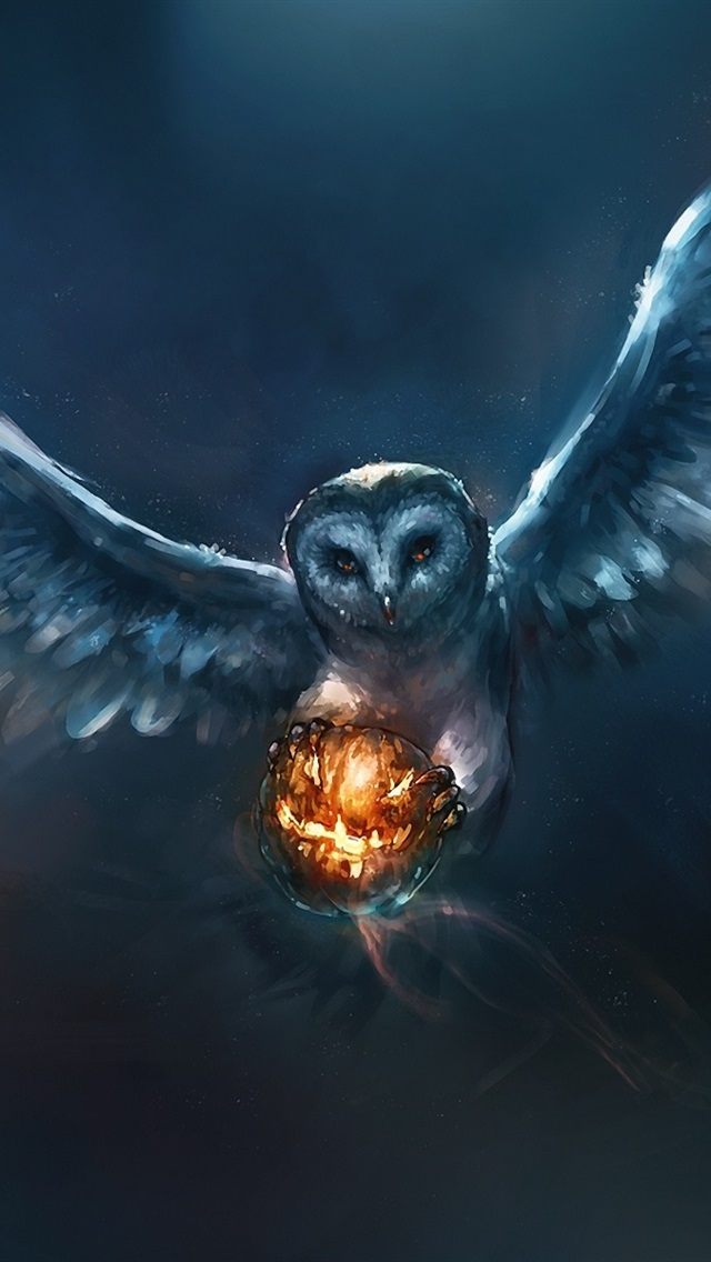 Animal Painting Owl Halloween Pumpkin 640x1136 Iphone 5