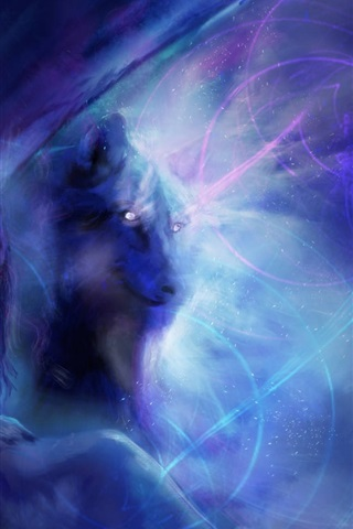 iPhone Wallpaper Art painting, girl with wolf, blue style