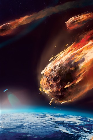 iPhone Wallpaper Art painting, meteor, planet, atmosphere, friction, fire