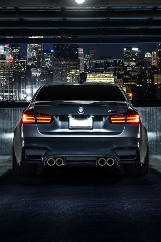 Bmw M3 F80 Matte Black Car Rear View Night City 640x1136 Iphone 5 5s 5c Se Wallpaper Background Picture Image