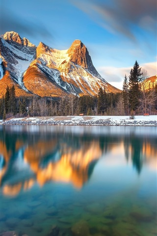 iPhone Wallpaper Canada, Alberta, Canmore, lake, mountains, trees, morning