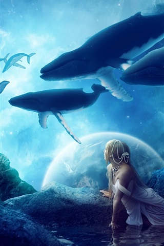 iPhone Wallpaper Creative pictures, whales, dream world, fantasy, girl