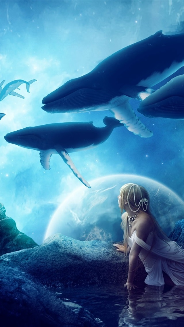 Creative Pictures Whales Dream World Fantasy Girl