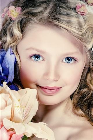 iPhone Wallpaper Cute girl portrait, curly hair, flowers, blue eyes