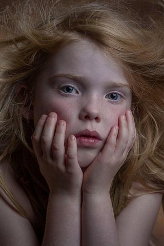 iPhone Wallpaper Cute little girl, freckles, portrait, hair flying