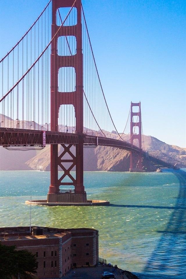 Golden Gate Bridge San Francisco Usa Bay Sun 640x960 Iphone 4 4s Wallpaper Background Picture Image