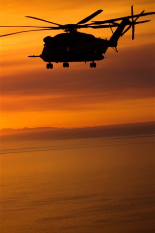 iPhone Wallpaper Helicopters, flying, sunset, red sky