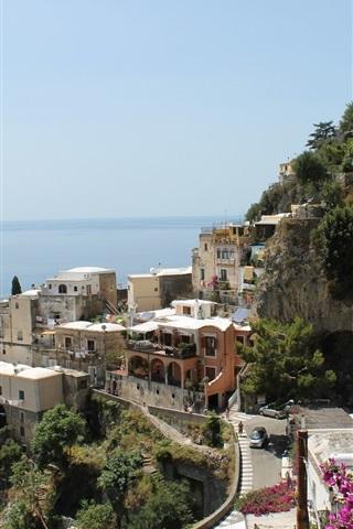 iPhone Wallpaper Italy, Amalfi, city, houses, street, sea