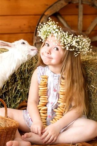 iPhone Papéis de Parede alegria bonito da menina, grinalda, cabra, coelho, cesta, ovos
