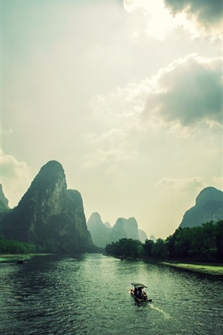 iPhone Wallpaper Mountains, clouds, rocks, river, boat, Vietnam landscape