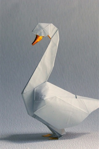 iPhone Wallpaper Origami art, white swan