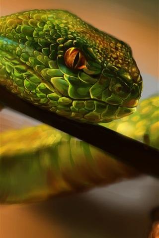 iPhone Wallpaper Painting, green snake, eyes