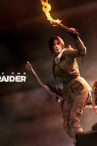 iPhone Wallpaper Rise of the Tomb Raider, Lara Croft, torch