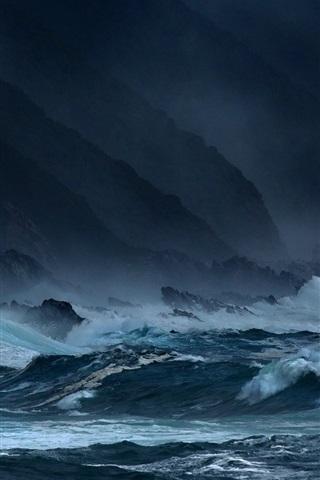 iPhone Wallpaper Sea, waves, storms, rocks, dark