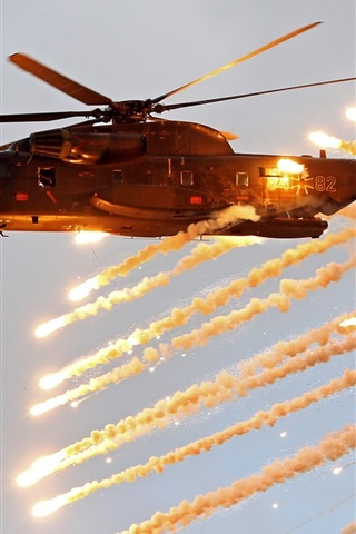 iPhone Wallpaper Sikorsky CH-53 Sea Stallion, heavy helicopter, shooting
