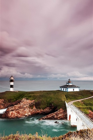iPhone Wallpaper Spain, lighthouse, coast, island, sea, clouds, dusk