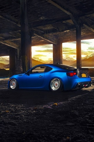 iPhone Wallpaper Subaru BRZ blue sport car rear view