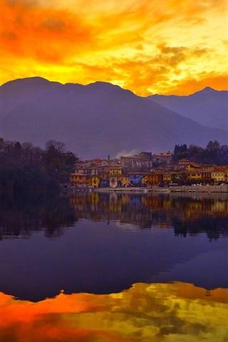 Fonds D écran Coucher De Soleil Ciel Montagnes Lac Ville