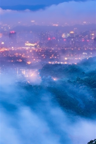 iPhone Wallpaper Taiwan, Taipei, city, evening, dusk, lights, mist, clouds